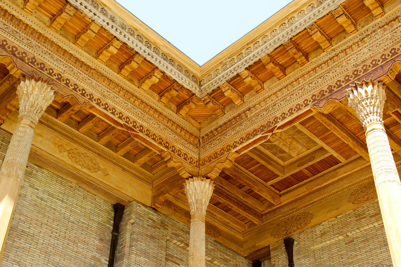 Architecture Building Exterior Built Structure Clear Sky Day Islamic Islamic Architecture Islamic Art Low Angle View Mosque No People Outdoors Pattern Silk Road Sky Tashkent Uzbekistan Wooden Building Woodworking