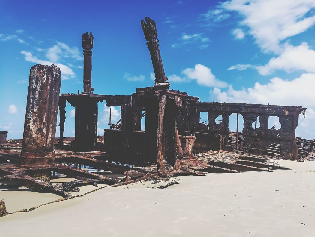Landscape Sky Outdoors Day No People Sand Fraser Island Australia Beachphotography Water Beach Sea Maheno Maheno Shipwreck Lost In Paradise Amazing Places Shipwreck Beach