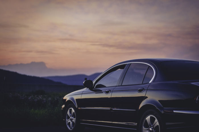 Car Focus On Foreground JAGUAR Jaguar X-type Landscape Mountains My Happy Place  No People Parking Sky Sunset Tranquility