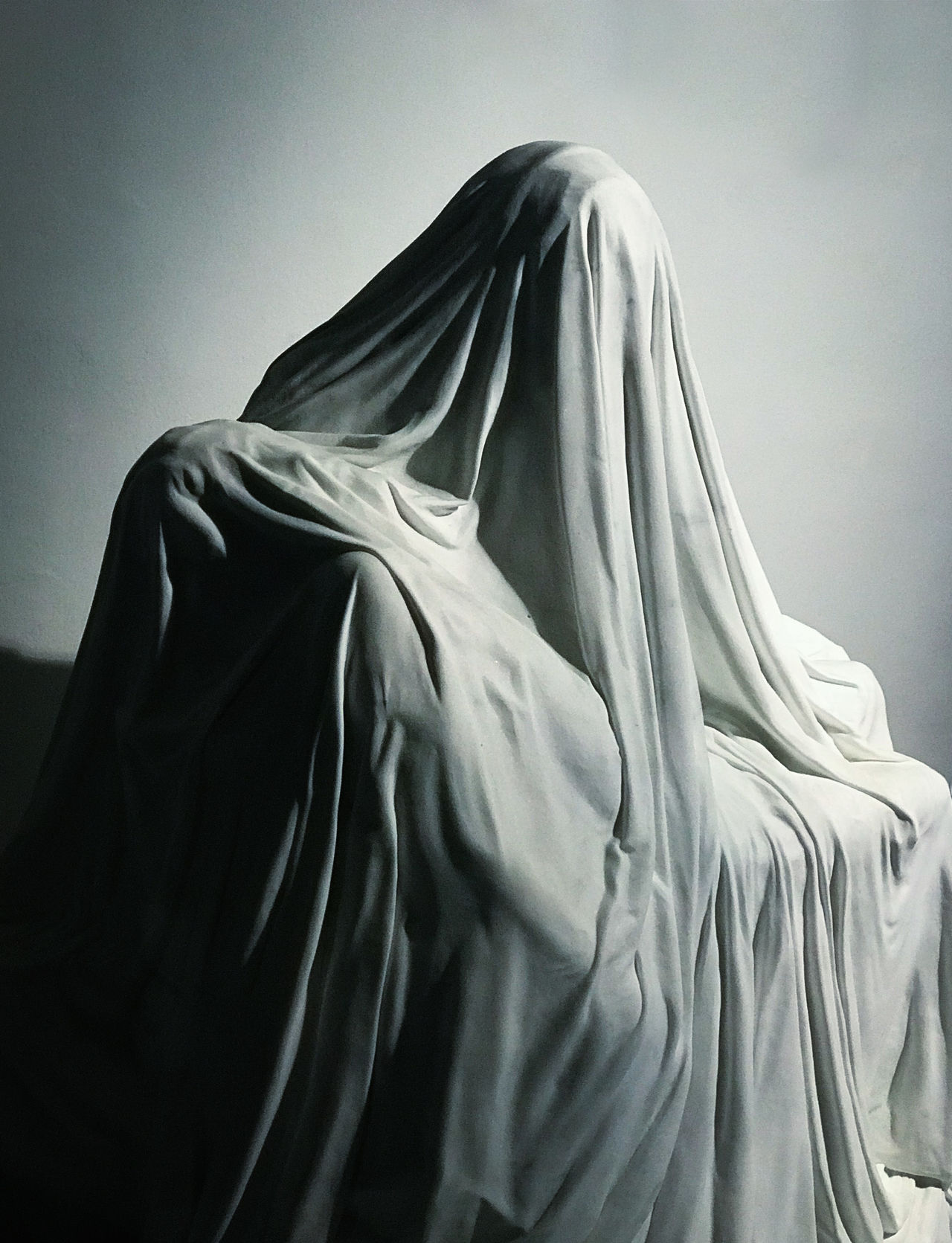 ArtWork Christian Christianity Death Gothic Grief Religious art believe black and white covered holding indoors minimal minimalism minimalobsession monochrome reincarnation religious spooky Statue textile veil white iPhone crop Second Acts Rethink Things