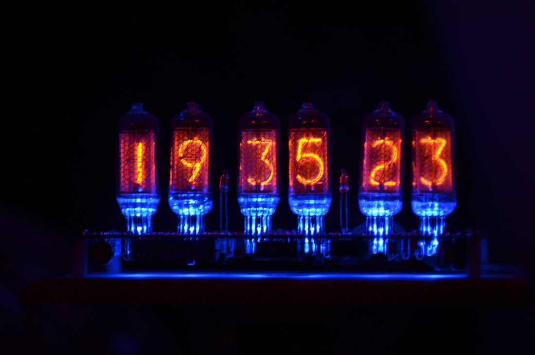 digital clock Blue Clock Close-up Dark Darkroom Digital Art Electron Tube Glowing Illuminated In A Row Light Lit Orange Selective Focus Side By Side Vacuum Tube