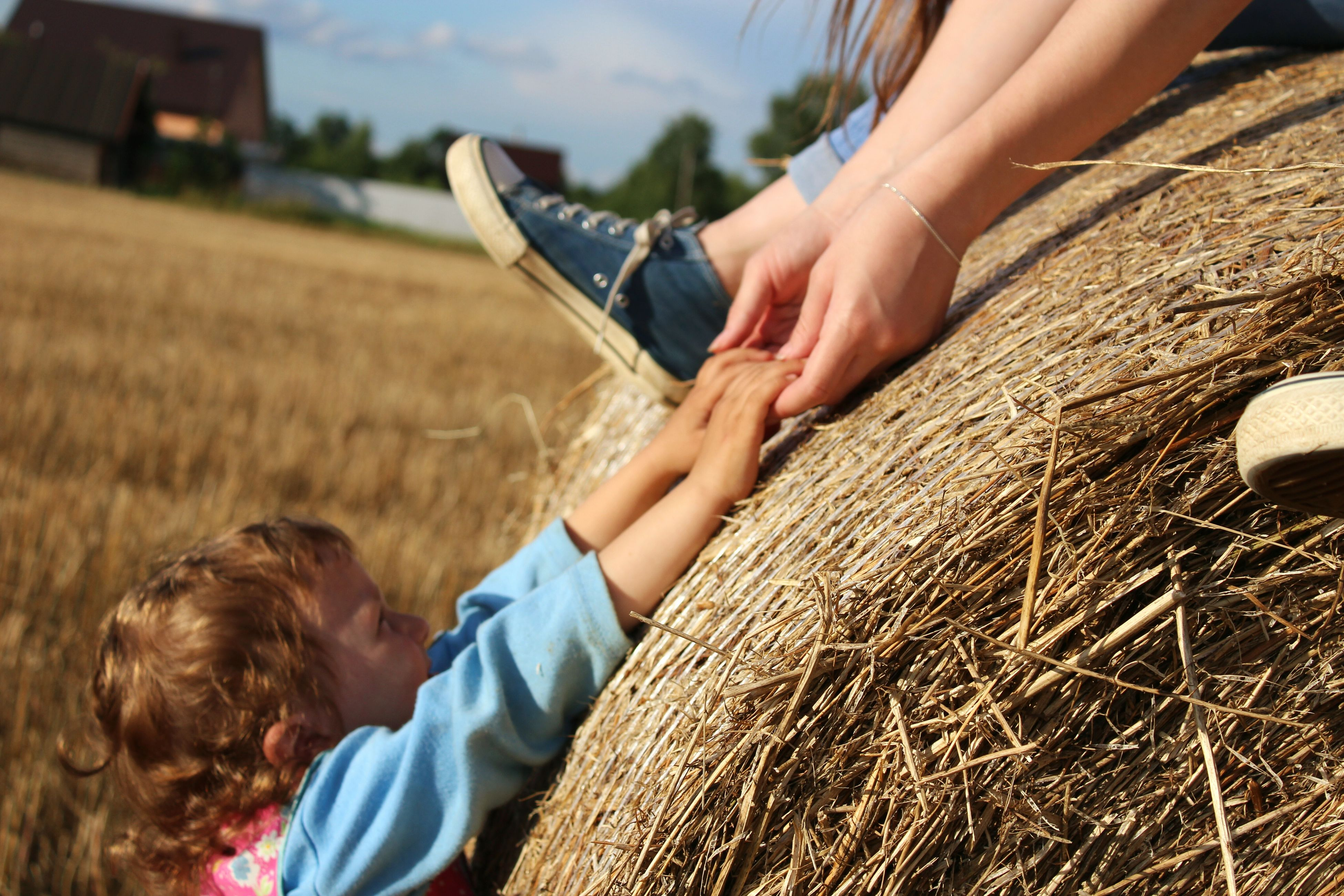 real people, hay, childhood, bale, leisure activity, two people, straw, boys, outdoors, lifestyles, field, day, girls, elementary age, haystack, togetherness, nature, human hand, mammal, people
