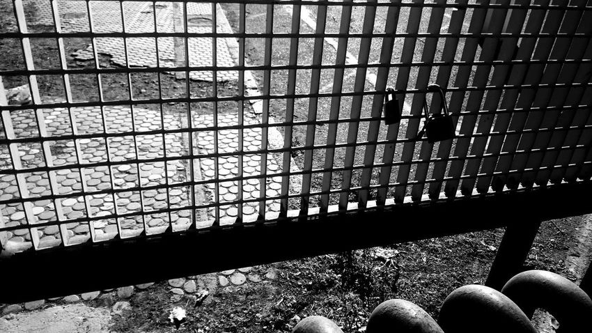 Black & White Gate Black And White Photography Blackandwhite Close-up Day Fence Indoors  Low Section Metal Padlock