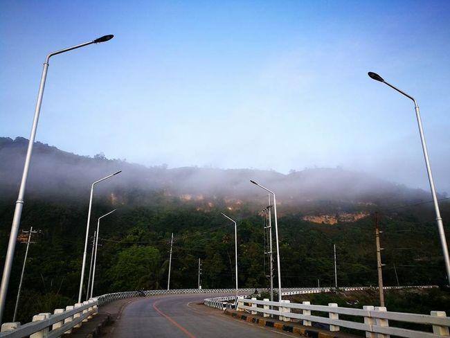 Ambience Bridge View Foggy Morning Fogs Fogscape Morning Bike Ride Roadtrip Street Lights At Sunset