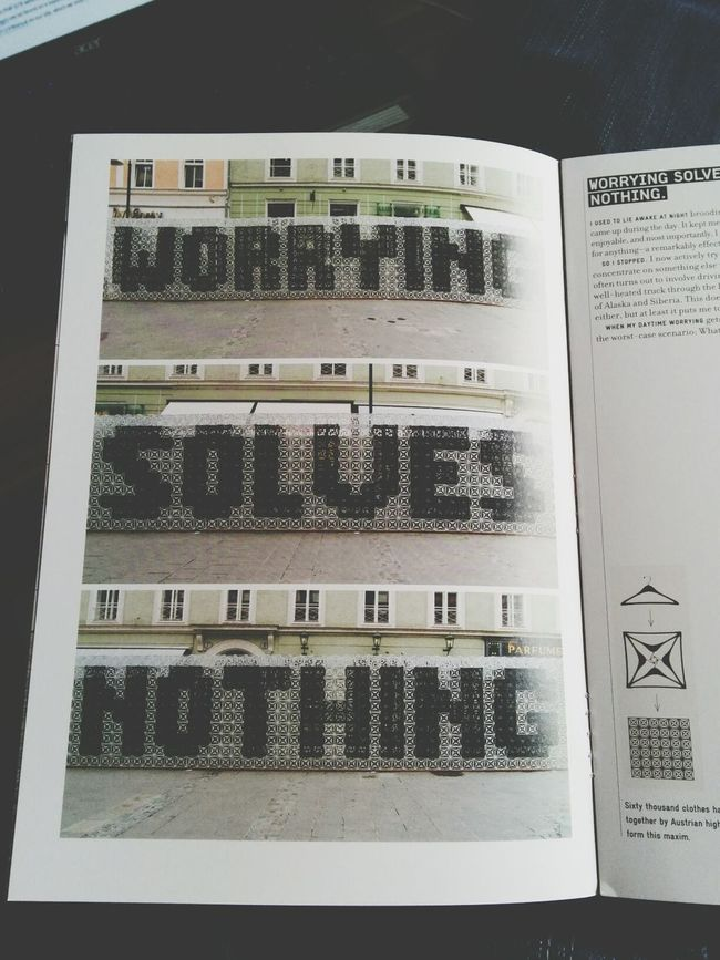 """""""worrying solves nothing"""" I couldn't concentrate so I took a random mini book from """"Things I've learned in my life so far"""" by stefan sagmeister. Guess this quote is more than accurate to my lack of concentration. Inspiration Stefansagmeister Things I've Learbed In My Life So Far Typography"""