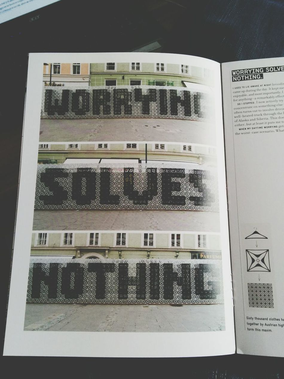 """worrying solves nothing"" I couldn't concentrate so I took a random mini book from ""Things I've learned in my life so far"" by stefan sagmeister. Guess this quote is more than accurate to my lack of concentration. Inspiration Stefansagmeister Things I've Learbed In My Life So Far Typography"