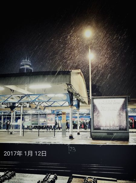 Railroad Station Night Outdoors No People London Snow