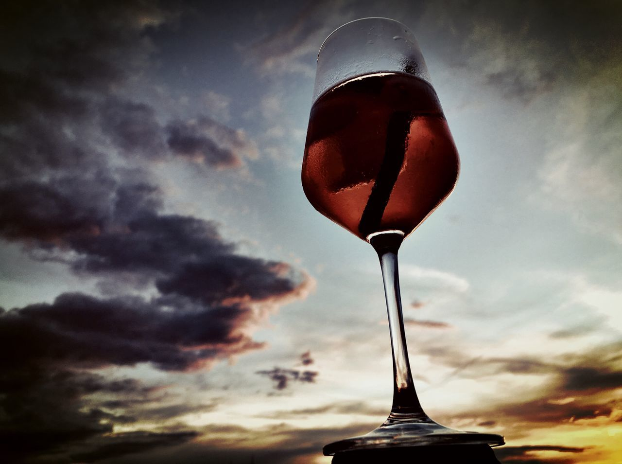 sky, food and drink, cloud - sky, sunset, alcohol, drink, no people, refreshment, wineglass, outdoors, drinking glass, close-up, freshness, beauty in nature, nature, day