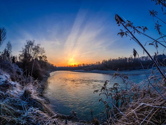 Fluss Im Winter Fluss Inn Flussufer Innocence Landkreis Mühldorf Rauhreif Sonnenaufgang Sunrise