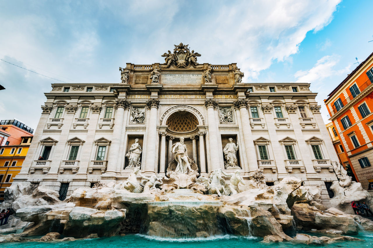 Low Angle View Of Trevi Fountain