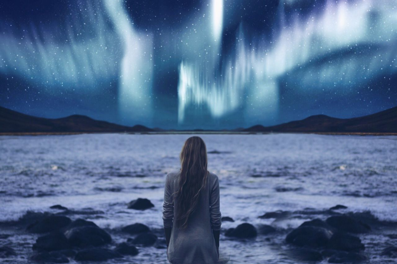 Beautiful stock photos of galaxy,  20-24 Years,  Alone,  Astronomy,  Aurora Borealis