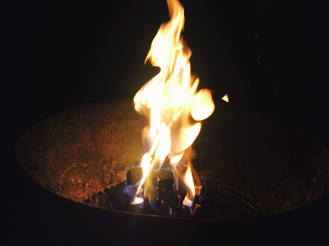 fire - natural phenomenon, flame, burning, heat - temperature, glowing, night, no people, close-up, illuminated, fire pit, bonfire, outdoors, diya - oil lamp