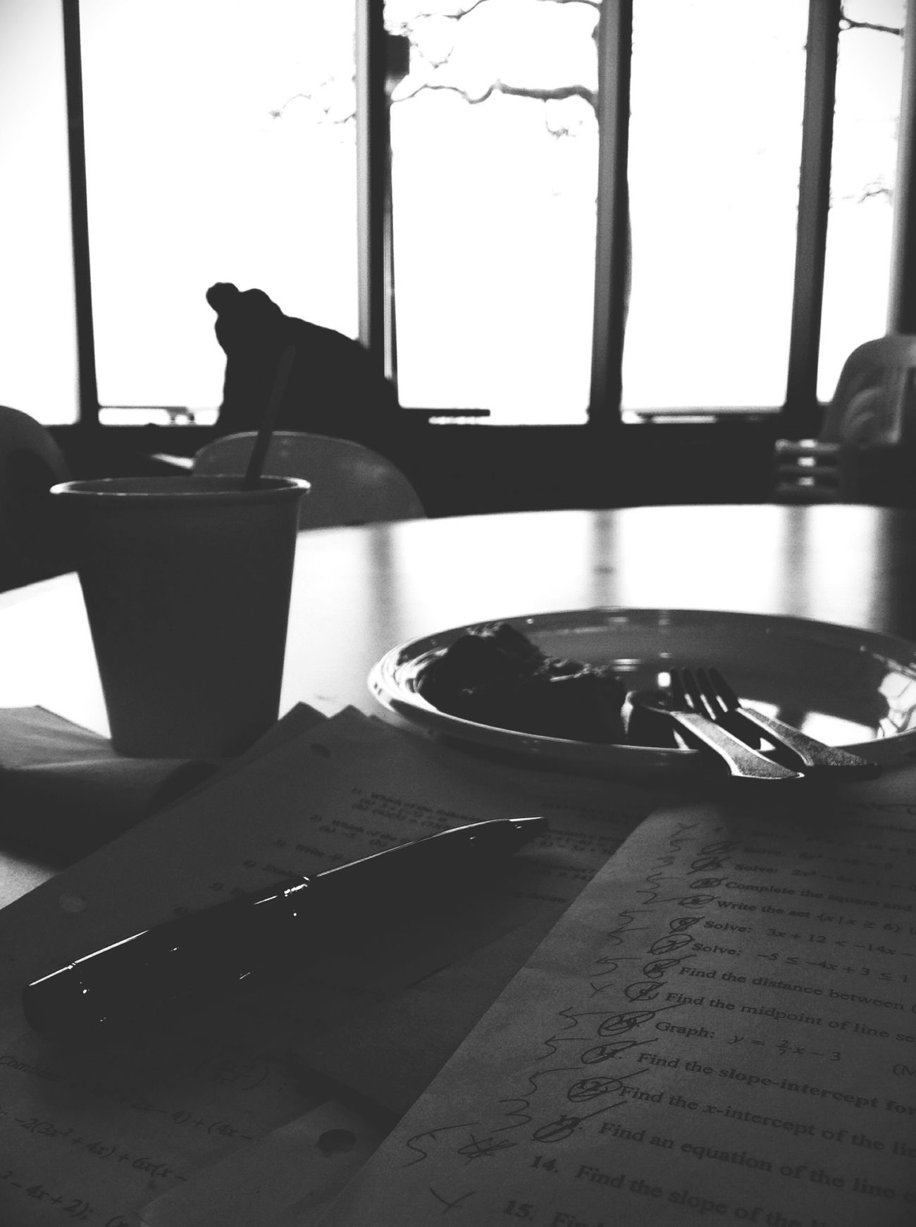 Studying Blackandwhite Breakfast Alone