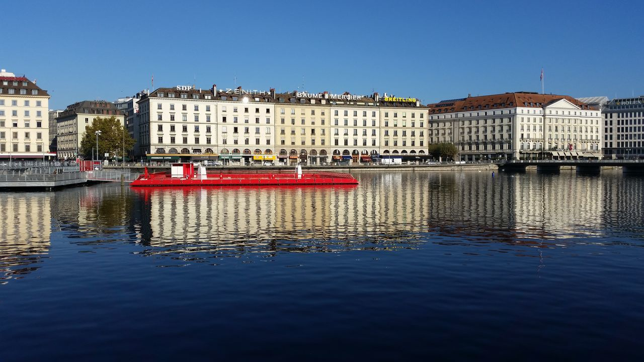 Water Reflection Red Business Finance And Industry Geneve Suisse