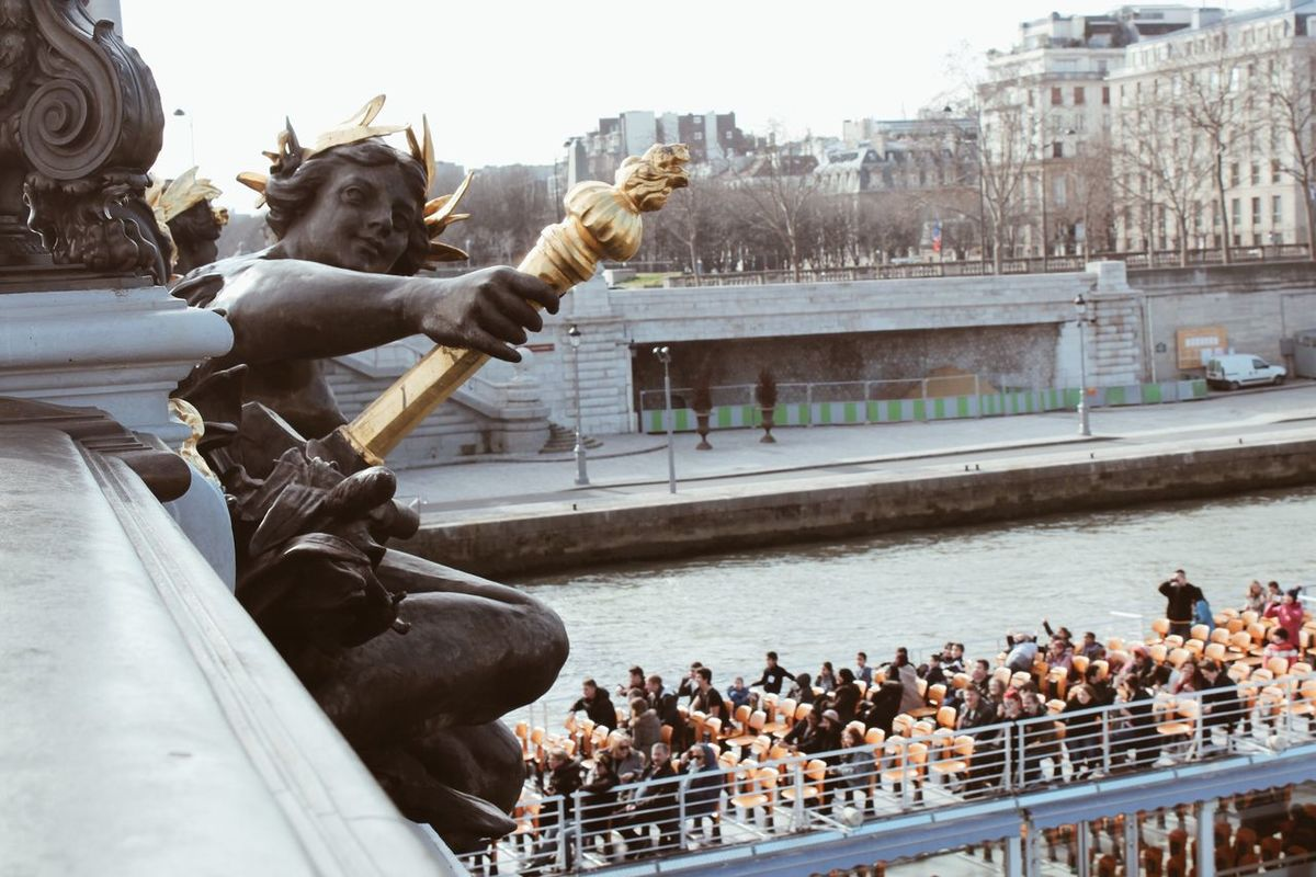 Perspective. Perspective Architecture Sculpture Statue Sightseeing Built Structure Large Group Of People City Outdoors Travel Destinations Water Real People People From Above  View From Above Sailing Boat Tourism Tourist Attraction  Tourist Riverbank Paris Paris, France  Finding New Frontiers City View  Neighborhood Map