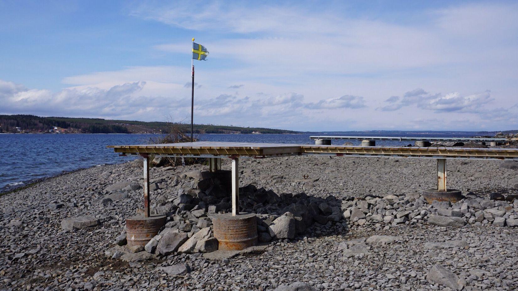 Low Water Level Bottom Of The Lake Bridges Storsjön Jamtland Spring