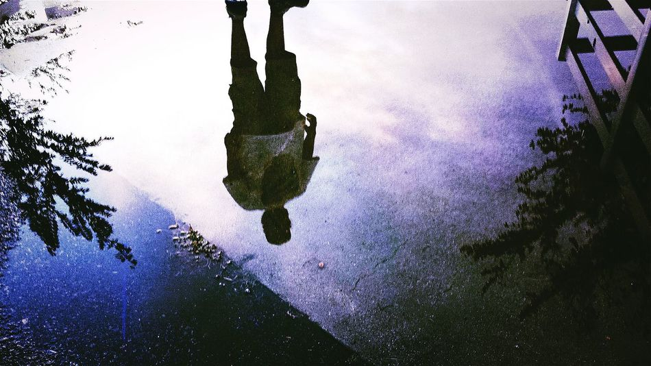 """""""The Redman Blues""""Puddle Reflections Sky Silloette And Sky Dirty Spaced Out Spaced Psychedelic"""