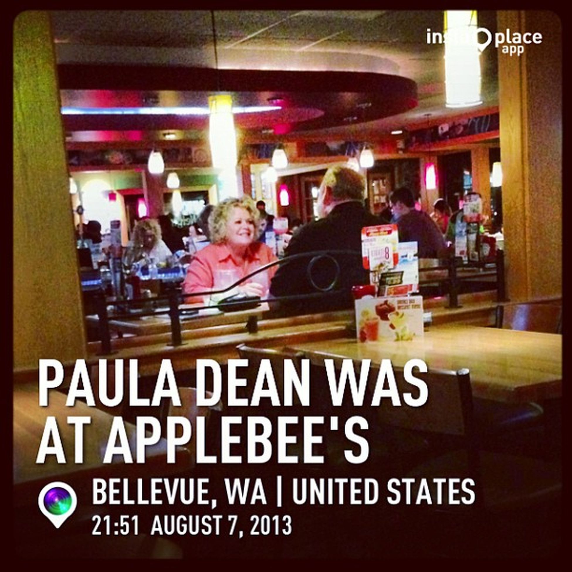 Thought it was Paula dean in the bar. Lol. InstaPlace Instaplaceapp Instagood Photooftheday instamood picoftheday instadaily photo instacool instapic picture pic @instaplacemobi place earth world unitedstates usa US bellevue night