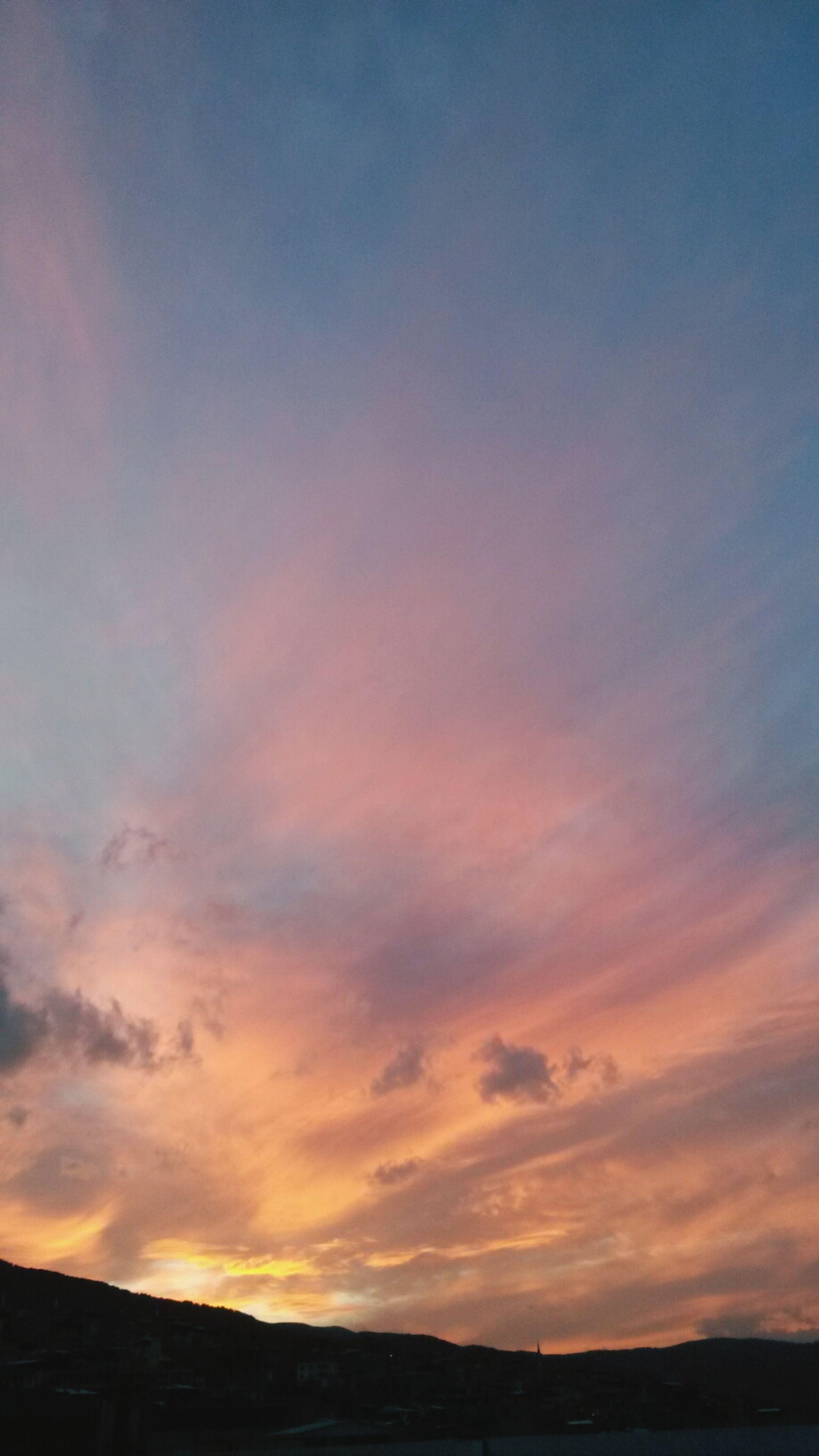 sunset, sky, tranquil scene, scenics, tranquility, beauty in nature, silhouette, landscape, cloud - sky, nature, orange color, idyllic, cloud, outdoors, dusk, no people, dramatic sky, non-urban scene, field, horizon over land