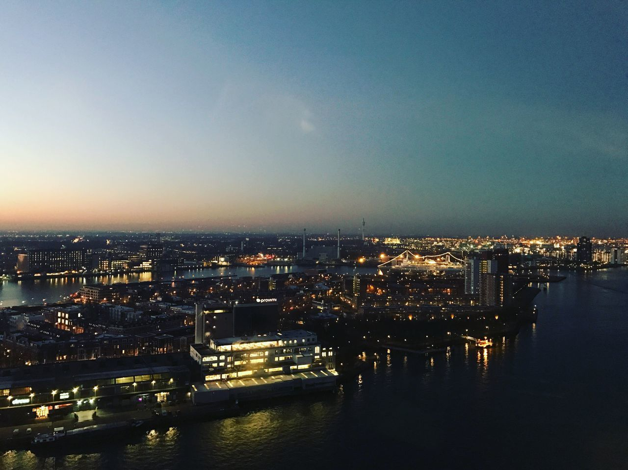 City Water Illuminated Sky Scenic Lookout Sunrise Rotterdam SS Rotterdam Haven Port Maas