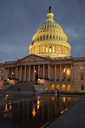 Architecture Building Exterior Capital Cities  Dome Famous Place Illuminated Night Travel Destinations US Capitol Building