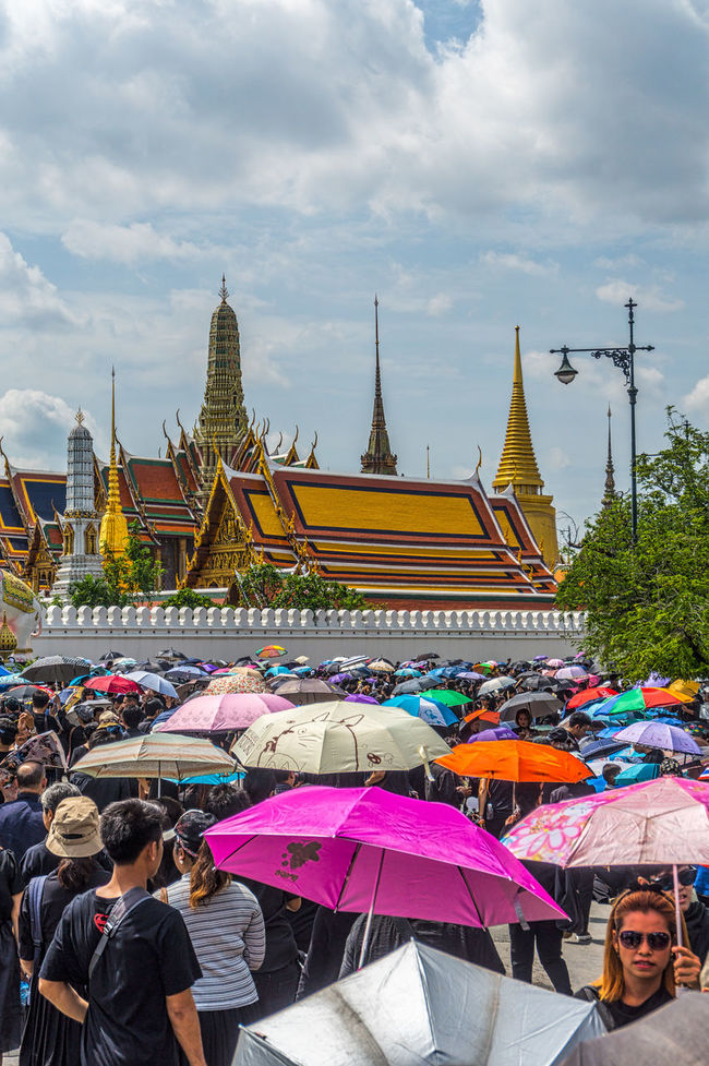 Crowds gather near the Grand Palace on the day This came to Bangkok to sing the Royal Anthem in honour of HM King Bhumipol Adulayadej. Architecture Bangkok Building Exterior Built Structure City Cityscape Cloud - Sky Crowd Day Gold Gold Colored King Bhumipol Adulyadet Large Group Of People Multi Colored Outdoors People Place Of Worship Religion Sky Thailand Tourism Travel Travel Destinations Tree Vertical