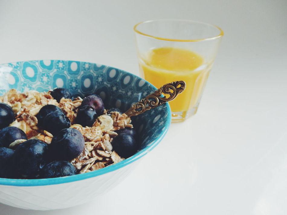 My Favorite Breakfast Moment Muesli With Yoghurt And Fresh Fruits Muesli Blueberry Blueberries Berries Berries Collection Fresh Healthy Eating Juice Fresh Orange Juice On The Table