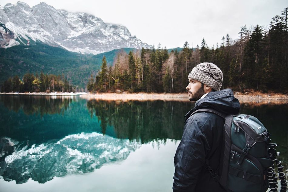 Finding New Frontiers Mountain Lake Warm Clothing Cold Temperature Reflection Landscape Adventure TheWeekOnEyeEM