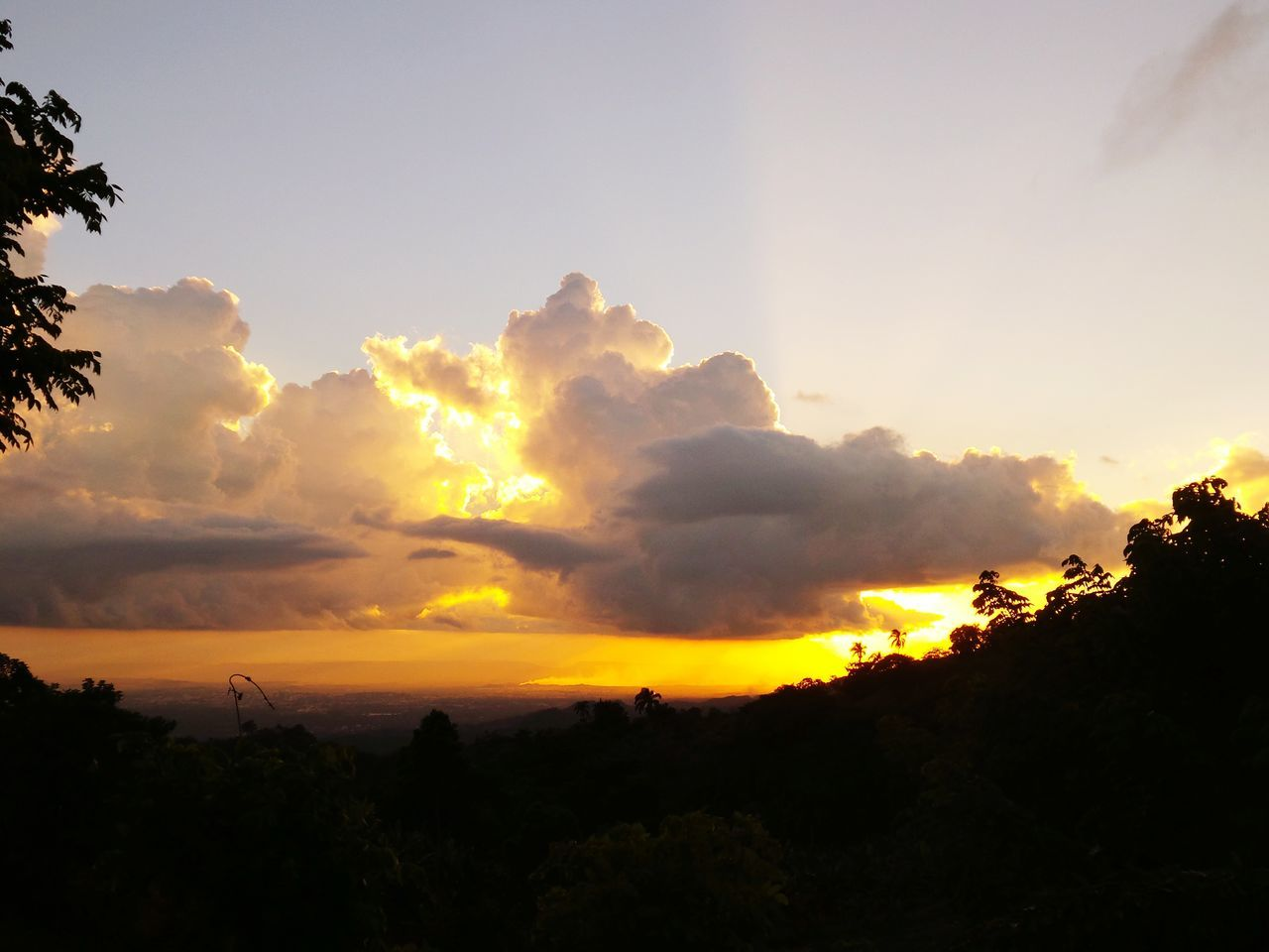 sunset, sky, silhouette, nature, beauty in nature, tranquility, tranquil scene, scenics, cloud - sky, tree, outdoors, no people, landscape, day
