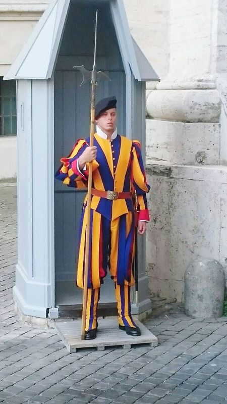 Full Length One Person Front View Adult Day Standing Outdoors Young Adult Swiss Guard Rome Italy🇮🇹