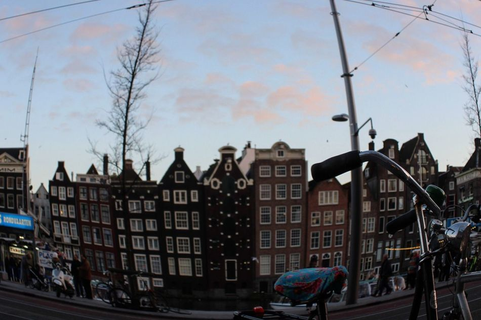 Beautiful Amsterdam Arquitecture Houses Cloudy Sky Trees Bicycle Netherlands Love Photooftheday