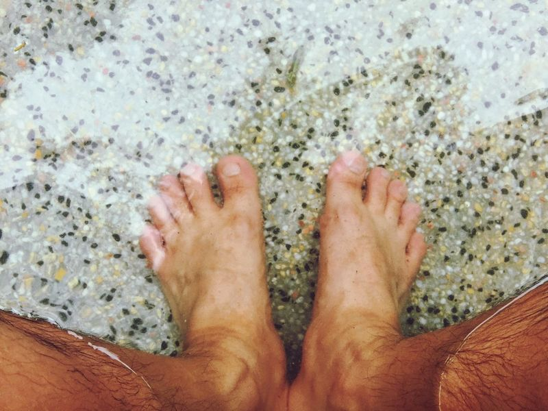 Taiwan Japan ASIA Hot Spring Onsen Foot barefoot Low Section Beach Sand High Angle View Human Body Part Personal Perspective One Person Day Vacations Relaxation Men Outdoors Lifestyles