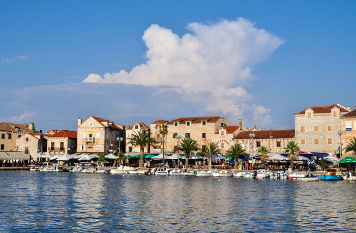 Architecture Blue Building Exterior City Cityscape Cloud - Sky Croatia Day Nautical Vessel No People Outdoors River Sky Travel Destinations Village Village Life Water Water Reflections Waterfront Wave