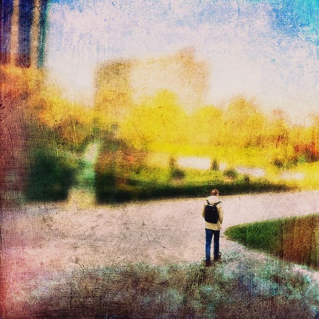 Small Scenes Of Life Walking Park Backpack Man Botanical Gardens Green Nature Alone Lonely