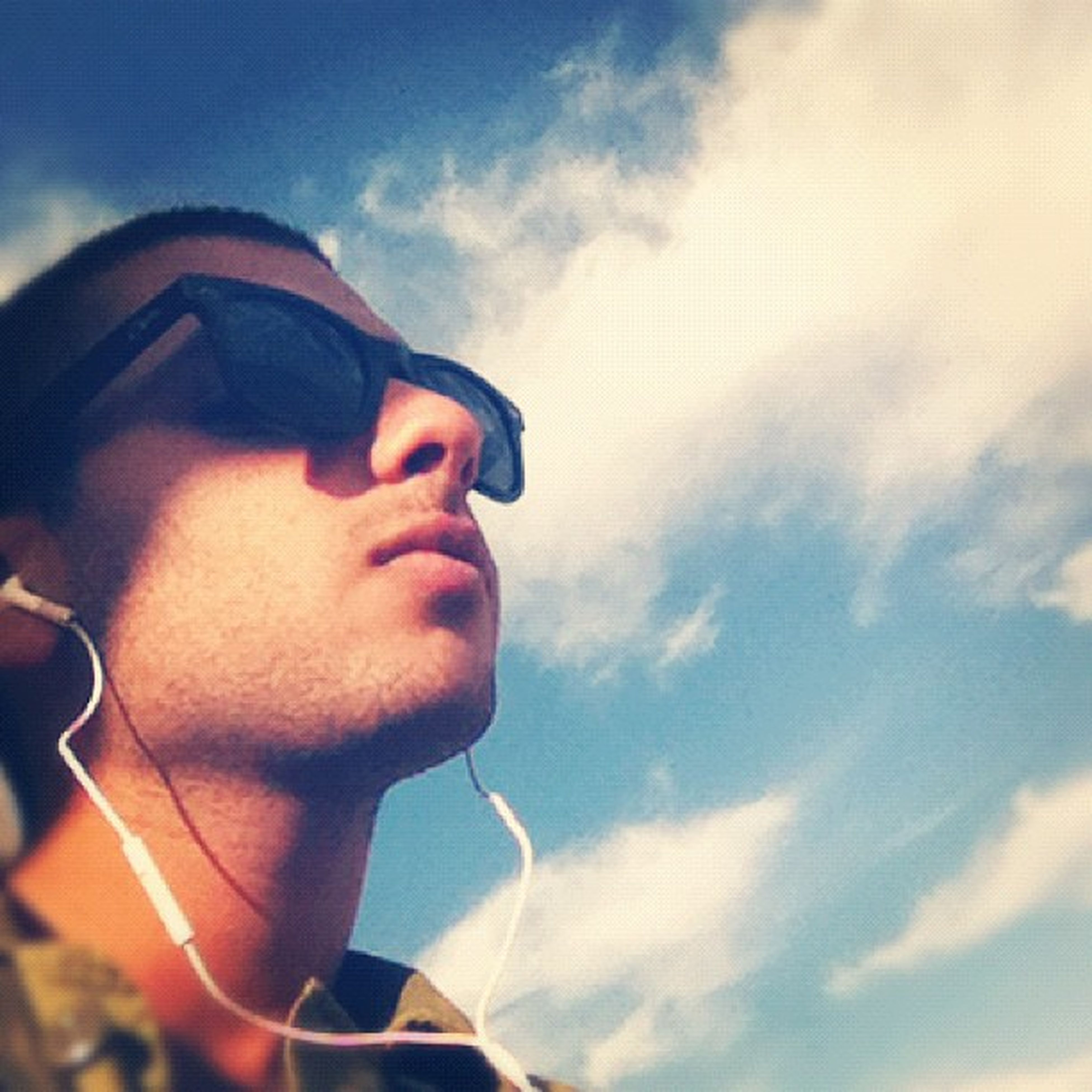 sky, part of, close-up, cropped, transportation, cloud - sky, cloud, low angle view, mode of transport, focus on foreground, reflection, sunglasses, outdoors, sunset, day, person, blue, sunlight