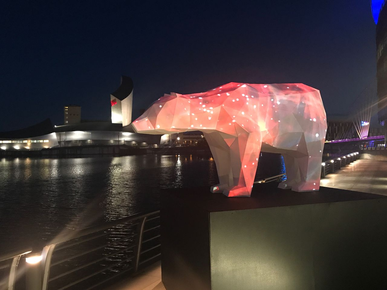 Nightt Illuminated No People Built Structure Architecture Arts Culture And Entertainment Red Outdoors Sky City Unnatural Borders Mediacityuk Imperial War Museum North Endangered Species Art Installation Lights Projection Art First Eyeem Photo
