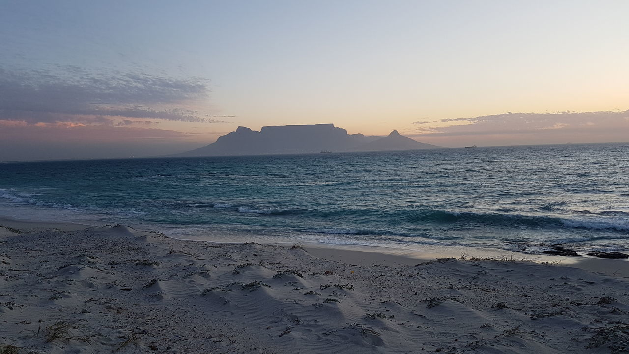Perspectives On Nature Sunset Landscape Sky Horizon Over Land Clear Sky Beauty In Nature Tranquility Sun No People Nature Outdoors Scenics Sea Beach Sand Silhouette Mountain Cold Temperature Travel Destinations Day Cape Town, South Africa Table Mountain BloubergStrand From My Point Of View Be. Ready.