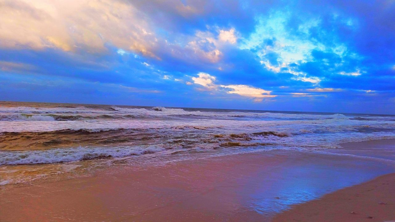 scenics, sea, tranquility, sky, beauty in nature, tranquil scene, nature, cloud - sky, water, horizon over water, outdoors, beach, idyllic, no people, sunset, travel destinations, day