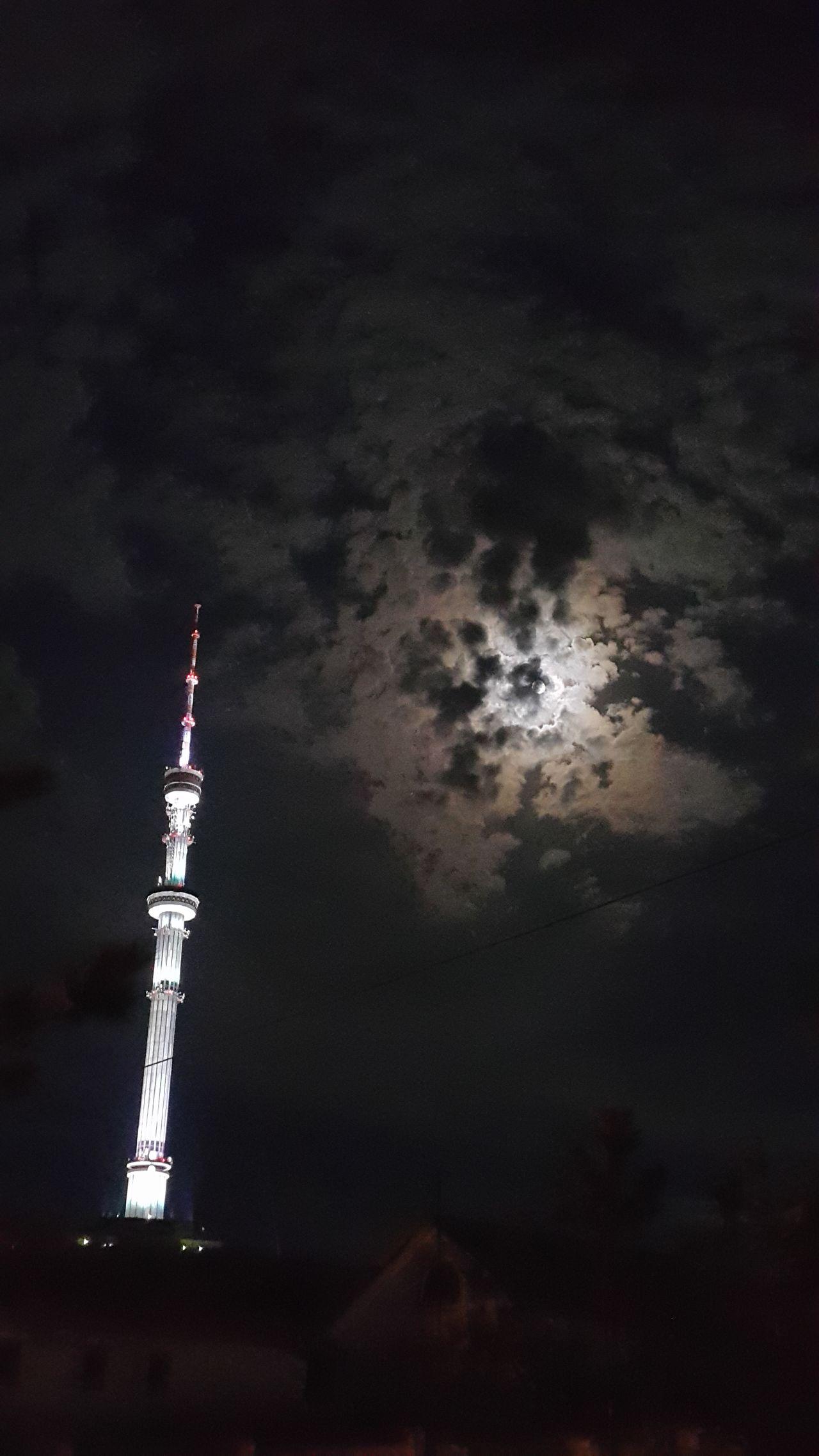 Tower Koktobe Almaty, Kazakhstan Moon Night