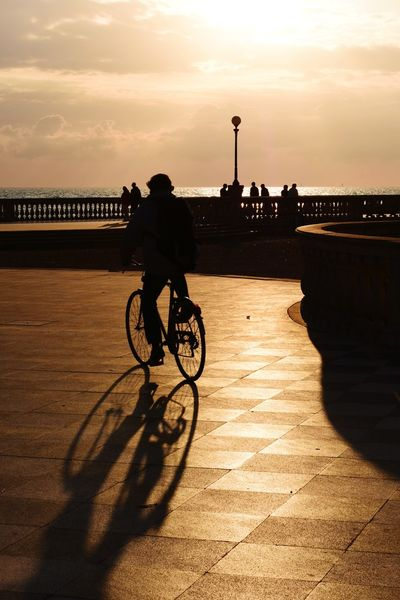 Sunset Bicycle Outdoors People Italy Livorno City Sea Tirreno Mediterranean  Travel EyeEm Gallery Great Atmosphere TheGreatOutdoors The Street Photographer - 2017 EyeEm Awards