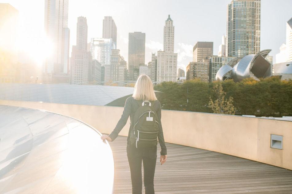 Beautiful stock photos of chicago skyline, 25-29 Years, Architecture, BP Bridge, Backpack