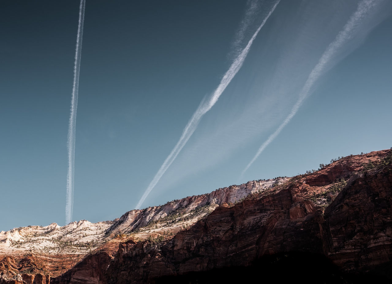 The dark side of Zion National Park, Utah, USA. Adventure Beauty In Nature Climbing Contrails Fujifilm Fujinon Hiking Landscape Landscape_Collection Landscape_photography Low Angle View Mountain Nature No People Outdoors Roadtrip Travel Travel Photography USA Utah Vacations Wanderlust Wide Angle X-T10 Zion National Park