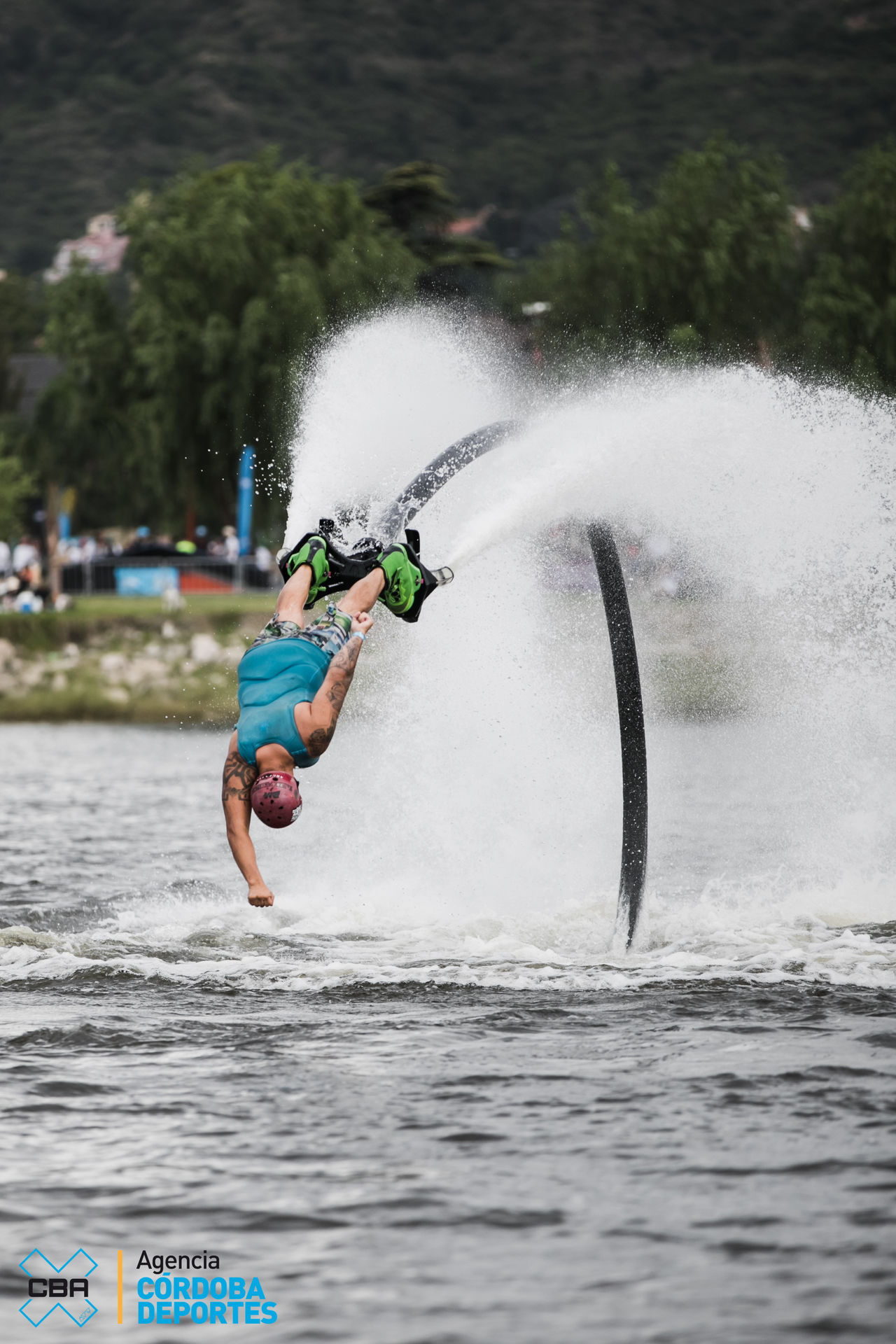 Adventure Day Enjoyment Extreme Sports Flyboard Flyboard, Flyboard, Cbax Flyboard, Cbax, Full Length Fun Leisure Activity Lifestyles Men Mid-air Motion Nature One Person Outdoors Real People Speed Splashing Spraying Stunt Water Waterfront