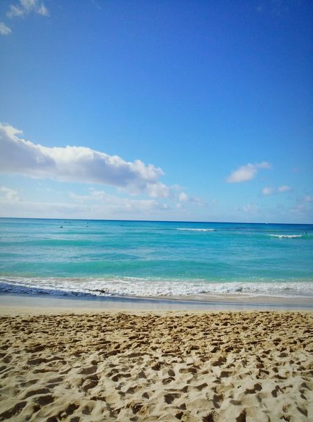 ハワイ ホノルル Waikiki Beach 海 Blue Sky