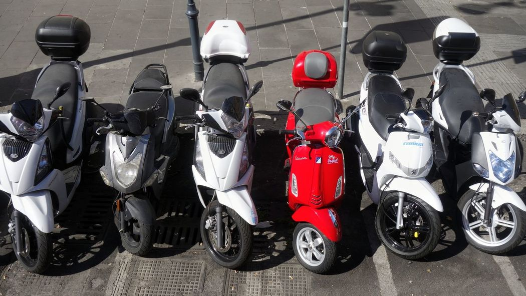 In A Row No People Close-up Mopeds Motorcycle Scooter Motor Scooter Color Red Red Rome Roma Italy Citylife City Black White And Red Eyecatcher EyeEm Best Shots The Street Photographer - 2017 EyeEm Awards Your Ticket To Europe