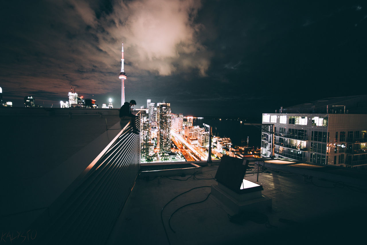 Edgebound night City Architecture sky Toronto Canada tower full frame clouds Modern Downtown urbex Rooftop urban skyline building exterior Toronto Cityscape Business people outdoors