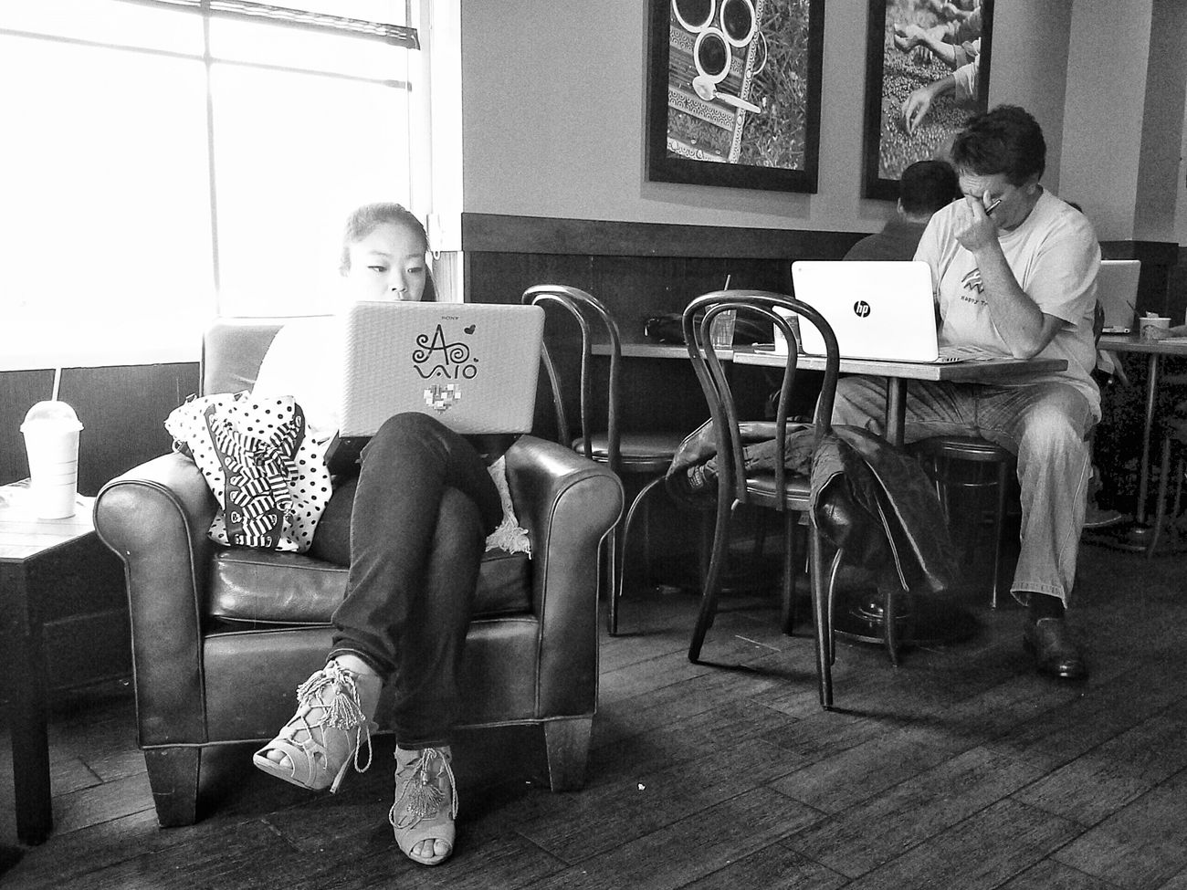 Starbucks Experience Samsung Galaxy Note 8 Blackandwhite Street Streetphotography Streetphoto_bw Snapseed 2 very different Starbucks experiences