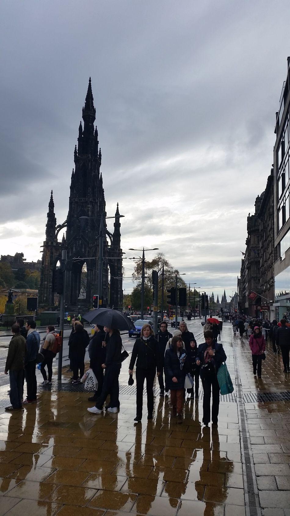 Princes Street Edinburgh Scotland Rainy Days Reflections Exceptional Photographs EyeEm Masterclass Travel Photography Reedited Eye4photography  EyeEm Best Shots Large Group Of People Travel Destinations Reflections In The Rain