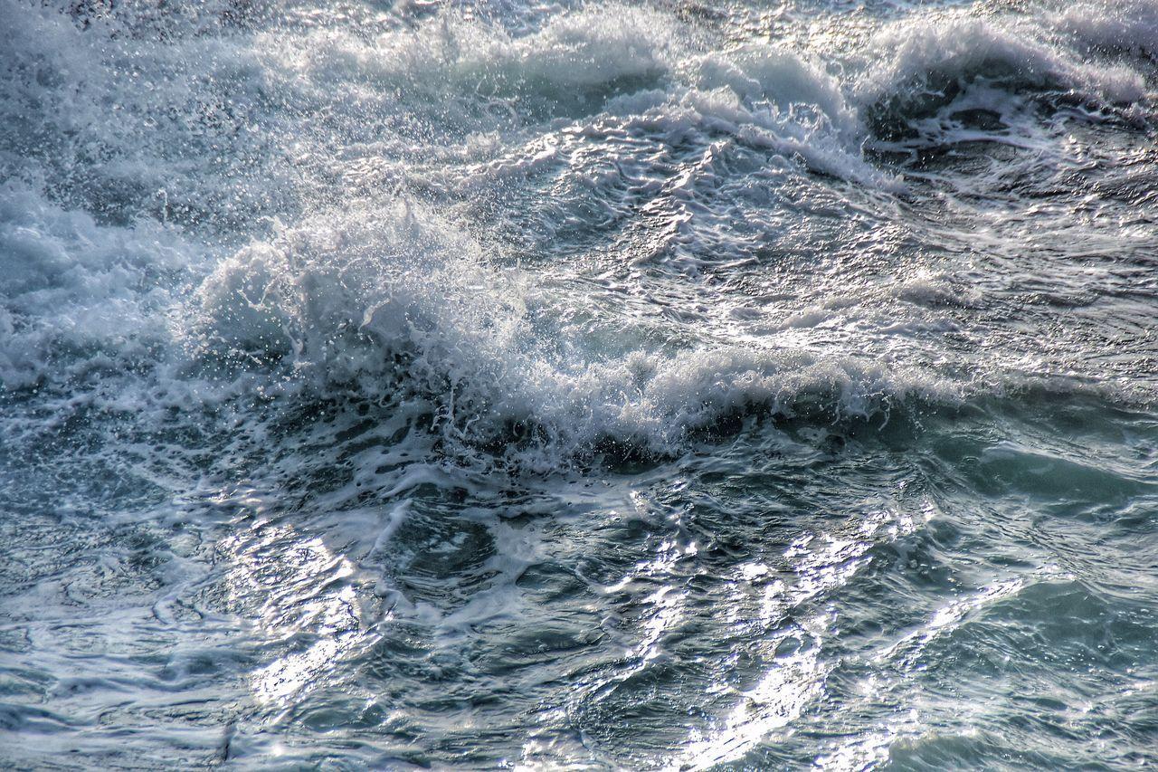High Angle View Of Splashing Sea Waves