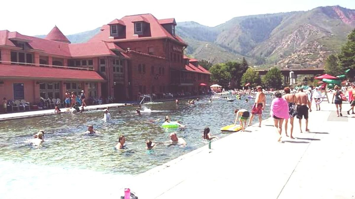 Building Exterior Large Group Of People Architecture Built Structure Mountain Vacations Water Tourism swimming Pool Travel Destinations Tourist Famous Place Glenwoodsprings Glenwood Glenwood colorado Vacation